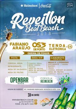 panfleto Reveillon Beat Beach 2018 - Fabiano Araújo e Os 3 de Porto