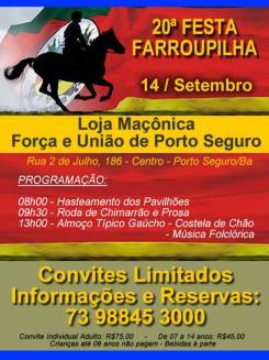 panfleto 20ª Festa Farroupinha de Porto Seguro